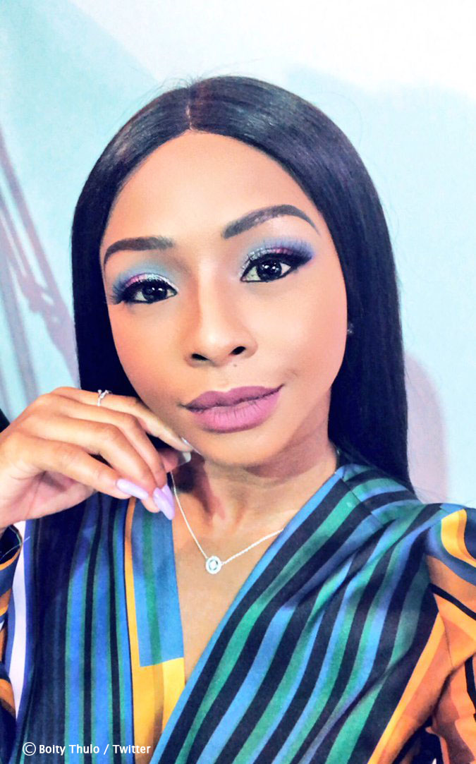 Boity Thulo wears a pink and black ensemble for the Thoughts event