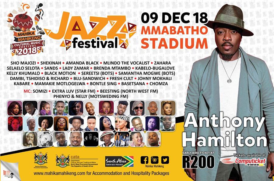 Anthony Hamilton to perform at the 2018 Mahika Mahikeng Music Festival