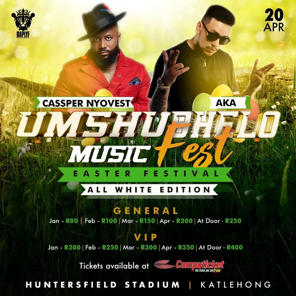 Cassper Nyovest and AKA Umshubhelo Fest line-up