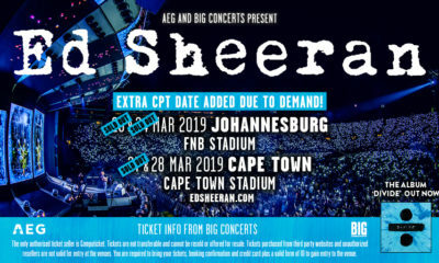 Extra Cape Town show added for Ed Sheeran's tour Ed Sheeran