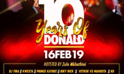 Donald gears up for first edition of 10 Years of Donald Donald Moatshe