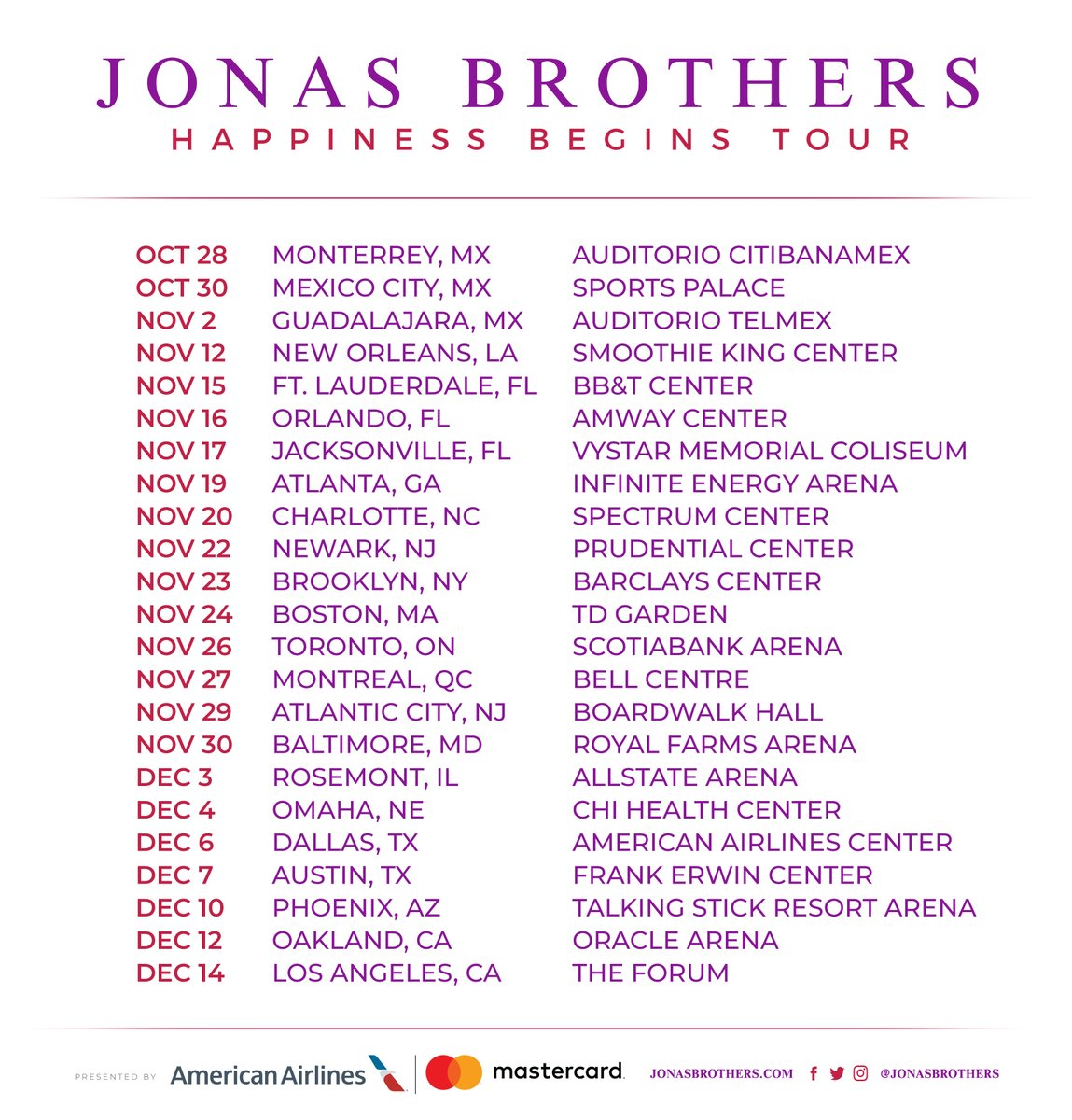 The Jonas Brothers Happiness Begins tour