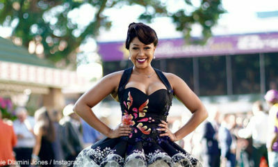 Minnie Dlamini Jones shows off tutu dress by Jessica Jane Molebatsi at Durban July