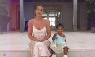 Reality star, Khloe Kardashian and True Thompson , poses with her daughter in summer frocks