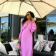 Media personality, Bonang Matheba, stuns in pink silk ensemble