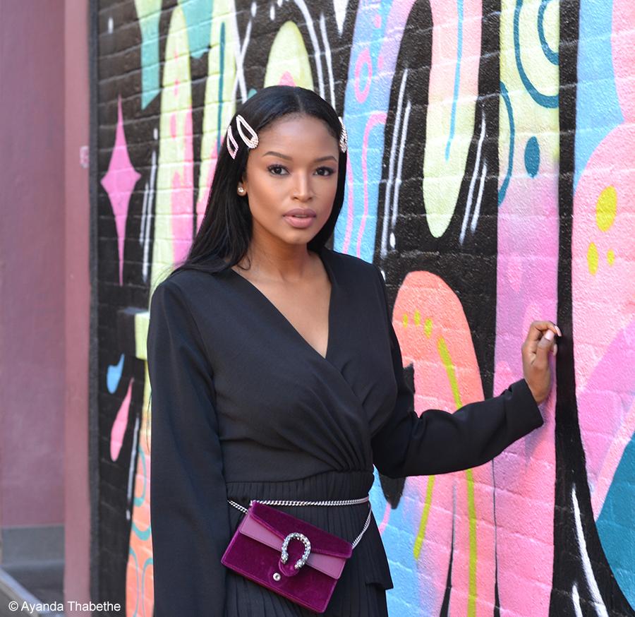 Ayanda Thabethe hosts a make-up show while at New York Fashion Week