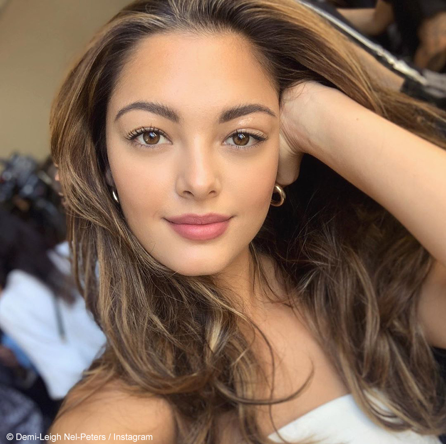 Demi-Leigh Nel-Peters opts for a tropical sunset-inspired make-up look at New York Fashion Week