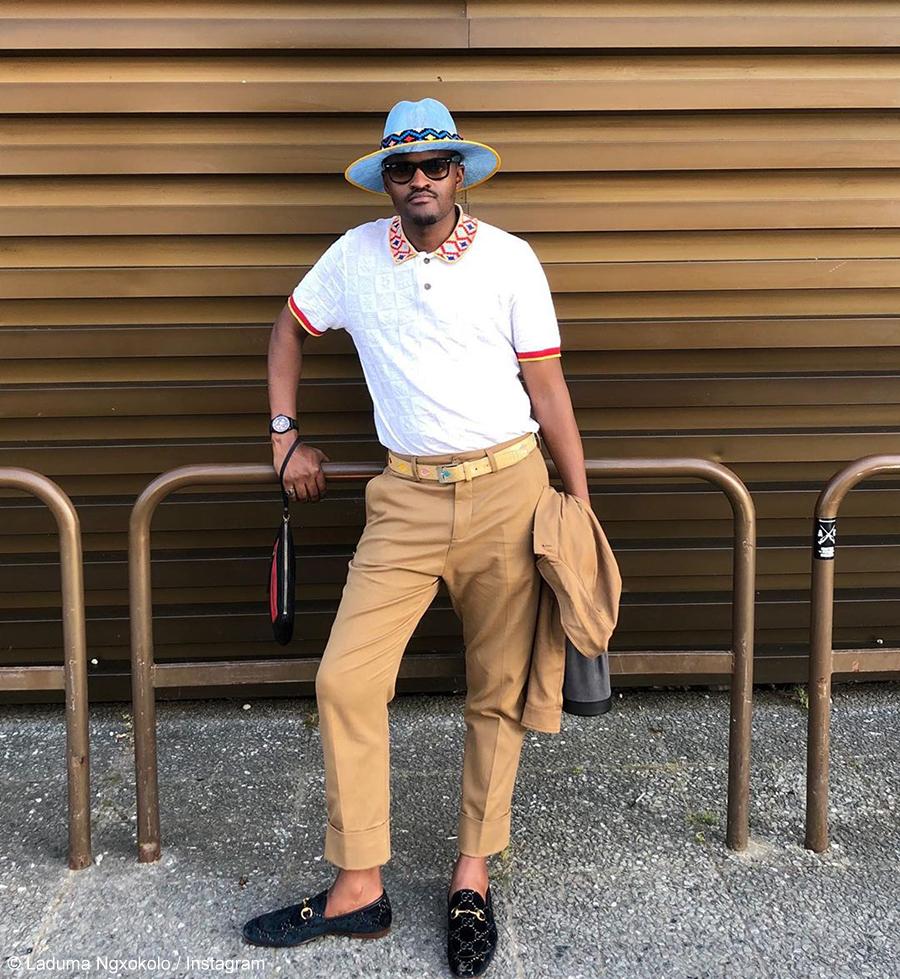Laduma Ngxokolo Maxhosa by Laduma showcases in an exhibition at Milan Fashion Week