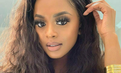 Lerato Kganyago pairs champagne gold dress with platform slides from Christian Louboutin