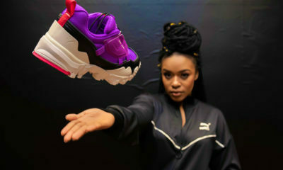 Nomzamo Mbatha poses in all-black outfit at Puma showroom in Los Angeles