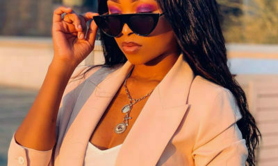 Zuziwe Gcuku wears a pink and purple eyeshadow make-up look