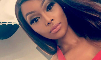 Bonang Matheba glitters in a bronze sparkly dress