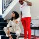 DJ Zinhle and DJ Tira wear complementary red and white outfits