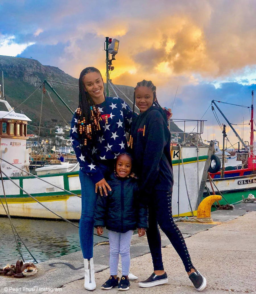 Pearl Thusi and her daughters sport long braided cornrows on the cover of Good Housekeeping Magazine