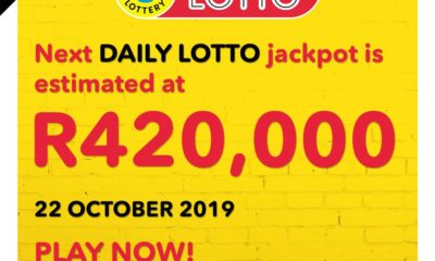 Daily Lotto: One jackpot winner on 21 October 2019