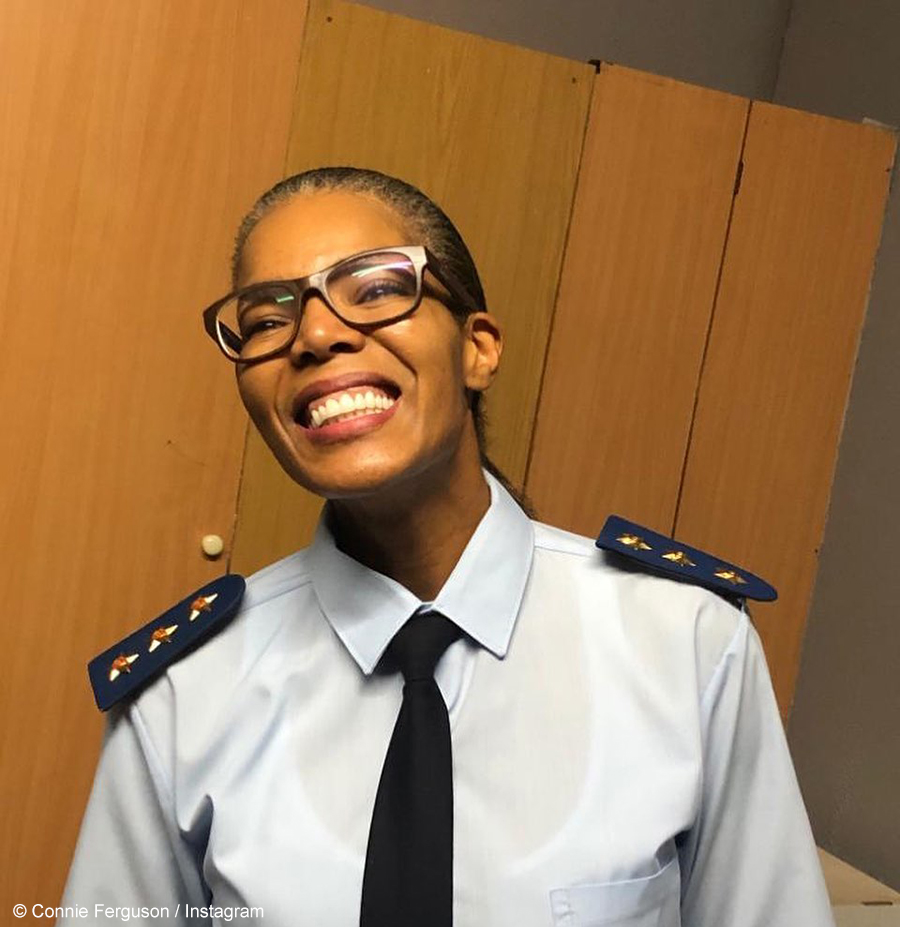Connie Ferguson dresses as Jerry Maake for Halloween