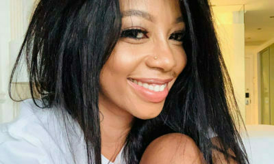 Kelly Khumalo showcases black, side-part wig