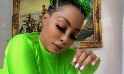 Khanyi Mbau showcases new acid green bob hairstyle