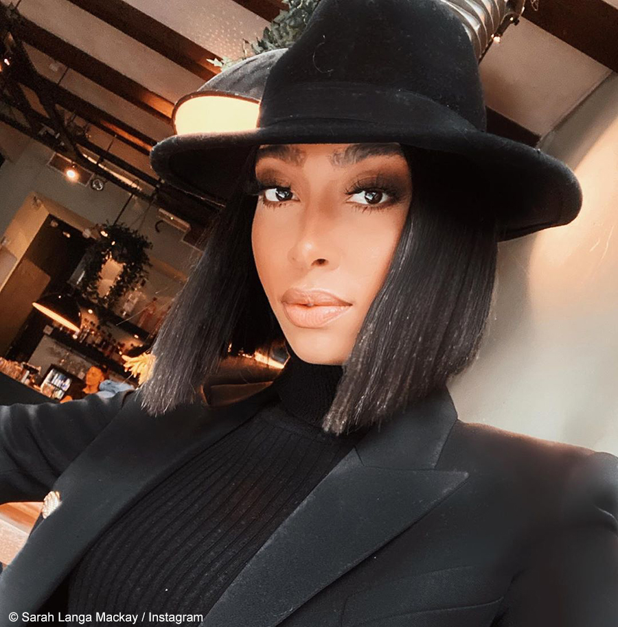 Sarah Langa Mackay travels to New York in all-black outfit