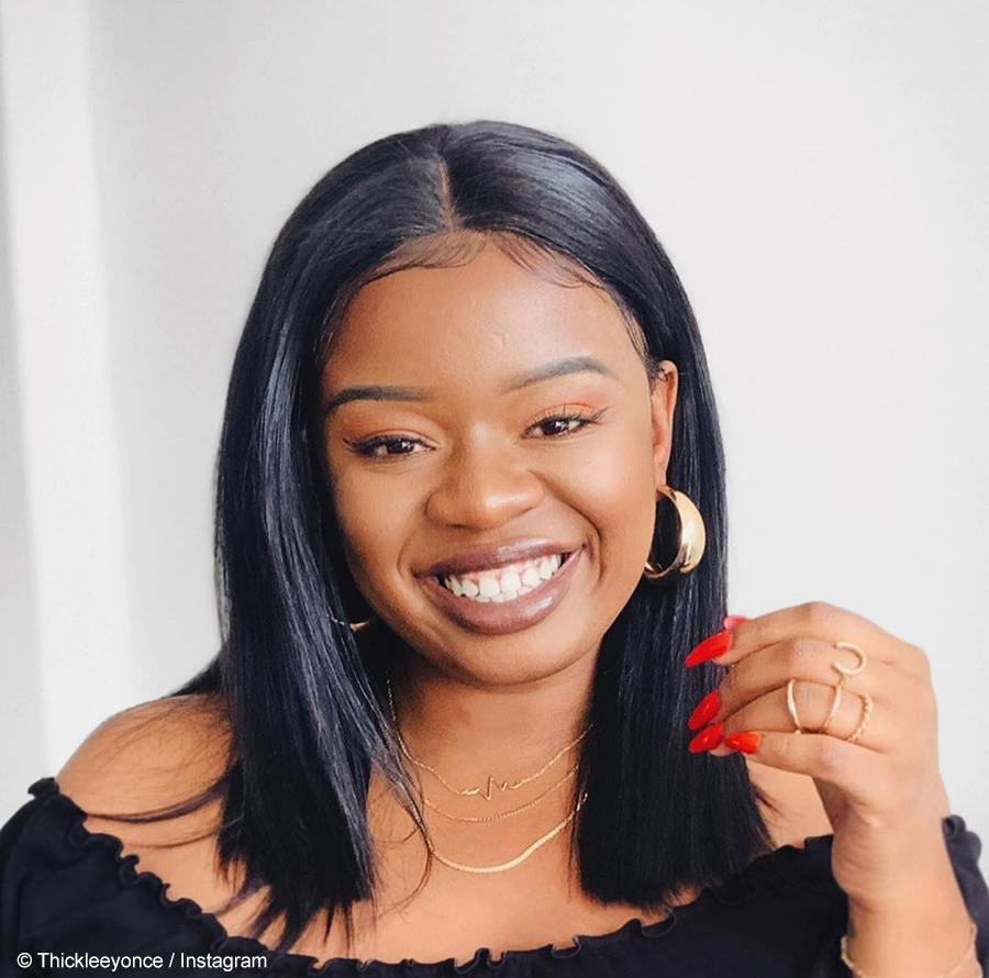 Thickleeyonce pairs subtle makeup look with bob wig