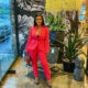 Boity attends Weylandts event in fitted pink suit