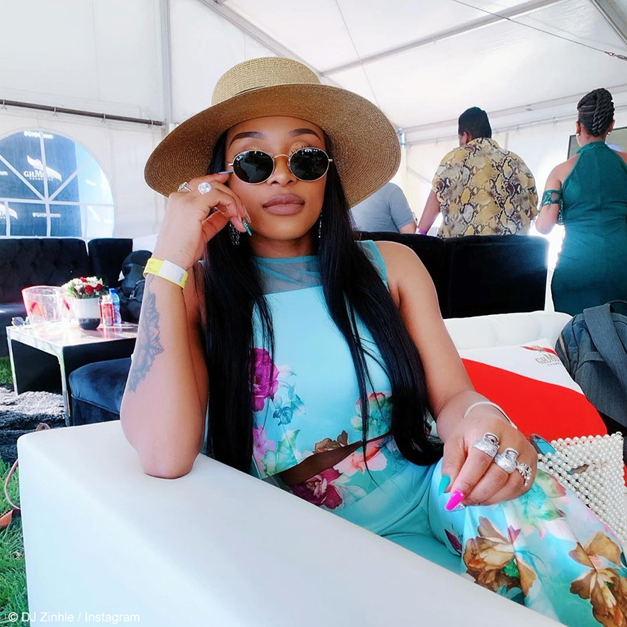 DJ Zinhle showcases floral two-piece from House of Fabrosanz