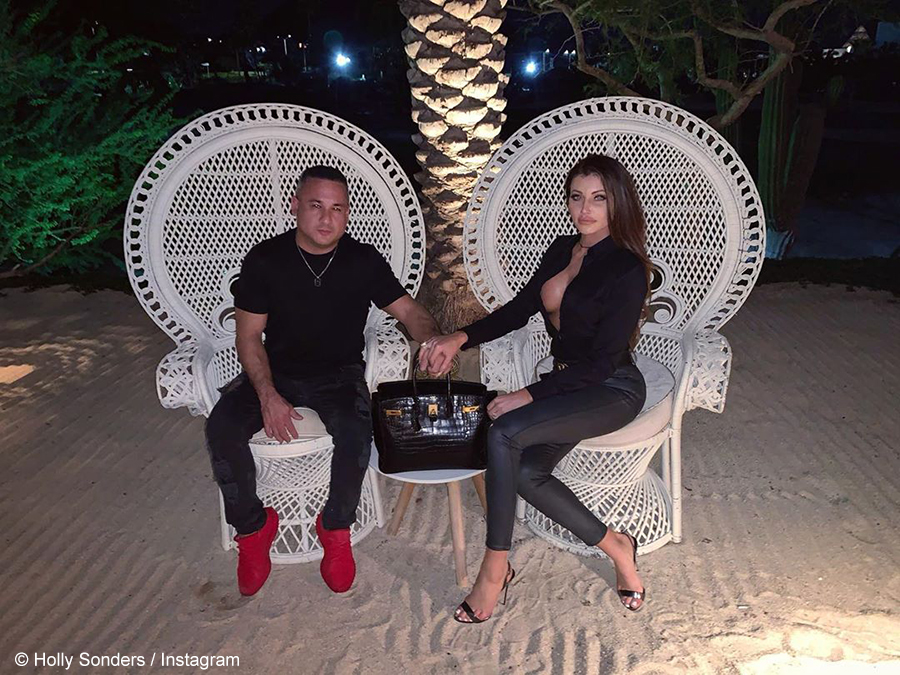 Holly Sonders and fiancé, Dave Oancea, showcase 15-litre champagne bottle at Bootsy Bellows