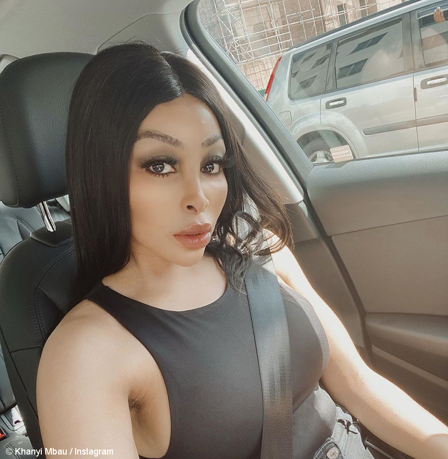 Khanyi Mbau shows off a new brunette wig from Bless The Hair Studio