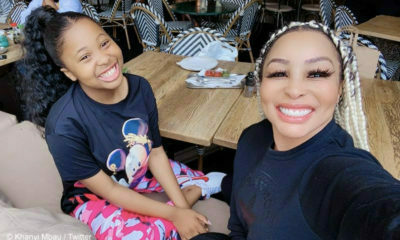 Khanyi Mbau attempts the Straight Arm Challenge with her daughter, Khanukani Mbau