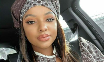 Mihlali Ndamase pairs bold red lip with a traditional ensemble