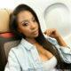 Pearl Modiadie wears a bold eye enroute Nigeria