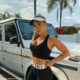 Tammy Hembrow showcases pink and white tennis set from Saski Collection