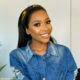 Blue Mbombo pairs polka dot jumpsuit with strappy heels