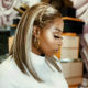 DJ Zinhle wears golden make-up look to Somizi and Mohale's white wedding