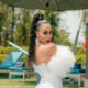 Khanyi Mbau wears feather and pearl-embellished dress to Somizi and Mohale's white wedding