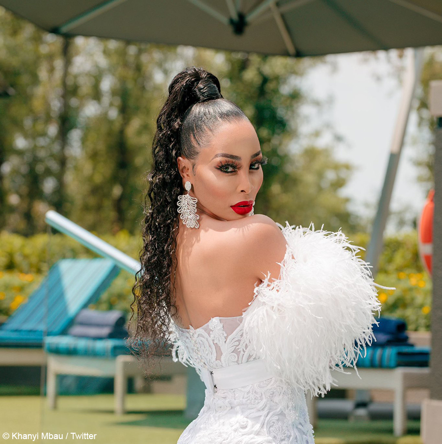 White Wedding Dress Song: Khanyi Mbau Wears Feather And Pearl-embellished Dress To