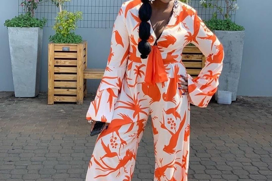 Kwa Mam'Mkhize's Shauwn Mkhize wears print jumpsuit with black slippers - JustNje