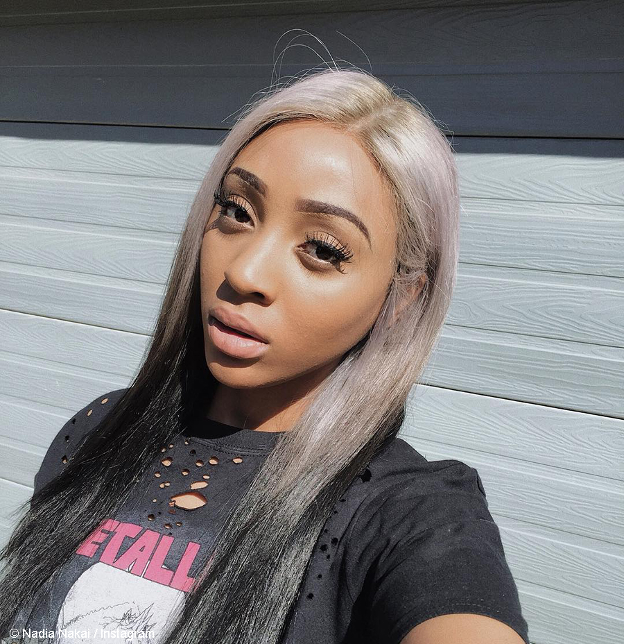 Nadia Nakai pairs sunset eyeshadow look with mauve lipstick