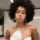 Sarah Langa Mackay wears no make-up with voluminous afro hairstyle