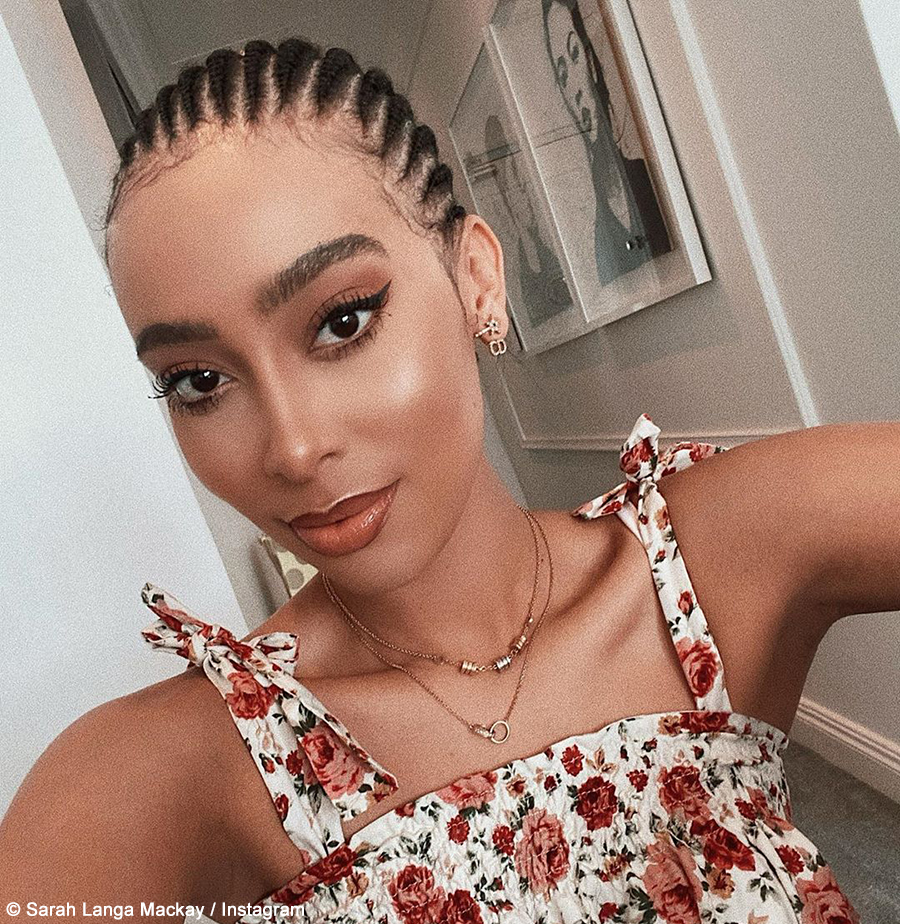 Sarah Langa Mackay showcases honey blonde braids