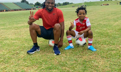 Siphiwe Tshabalala spends time with son and wife, Bokang Montjane-Tshabalala