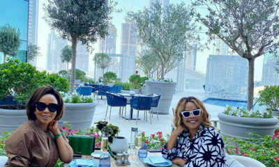 Terry Pheto wears Thula Sindi design while spending time with Carol Bouwer in Dubai