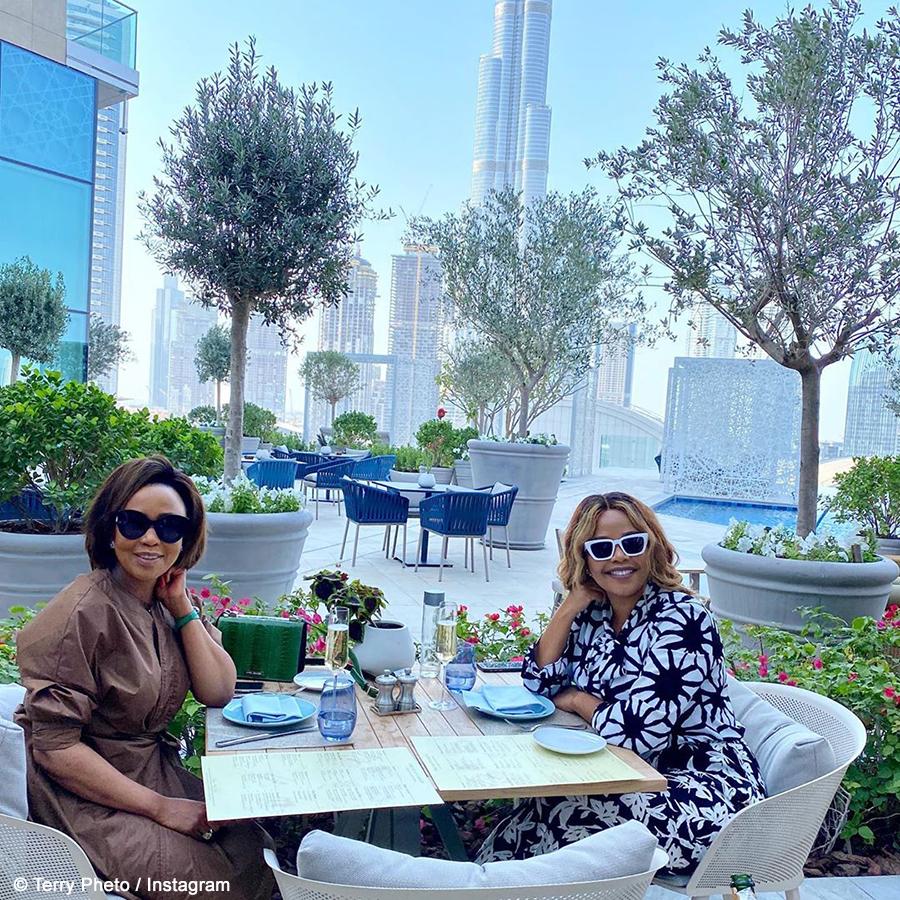 Terry Pheto wears Thula Sindi design while spending time with Carol Bouwer in Dubai