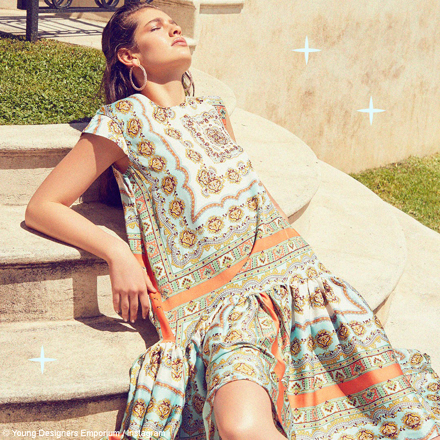 YDE showcases patterned dress and sneaker ensemble