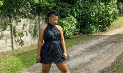 Zodwa Wabantu wears black dress to Max's Lifestyle