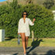 Boity Thulo wears collared shirt as a shirtdress in Cape Town