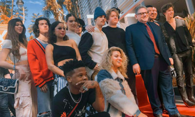 Nasty C poses with Justin Bieber and Tori Kelly at Sir Lucian Grainge's Hollywood Walk of Fame ceremony
