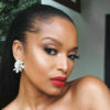 Ayanda Thabethe wears blue and white ensemble in Cape Town