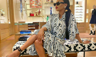 Bonang Matheba poses in monochrome outfit at Louis Vuitton store in Johannesburg