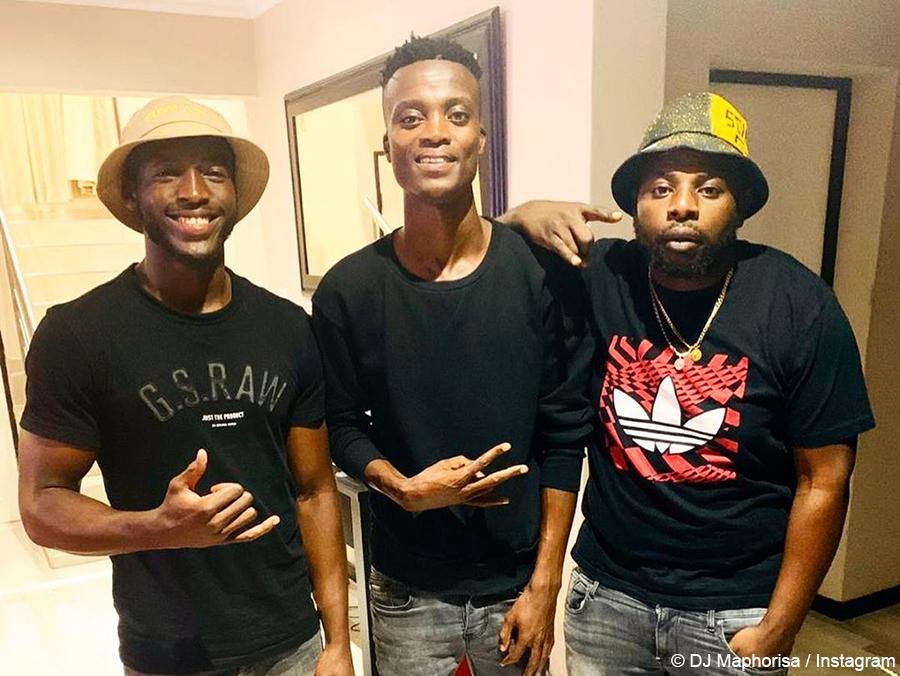 DJ Maphorisa poses in denim and black outfit alongside King Monada and DaliWonga